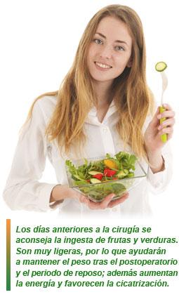 dietas pre y postcirugía
