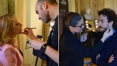 Cazcarra maquilla a los protagonistas de la foto de familia de los Premios Gaudí