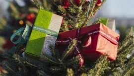 Los sets de Navidad Aveda, además de incorporar los cosméticos de la marca, se envuelven en papel de