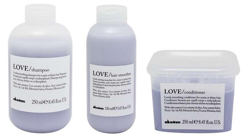 Diseño esencial y envase sostenible en Love de Davines, acción relajante comprobada para cabello encrespado y rebelde