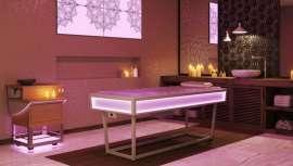 Esta cama de bienestar multifuncional es ideal para tratamientos y masajes inolvidables