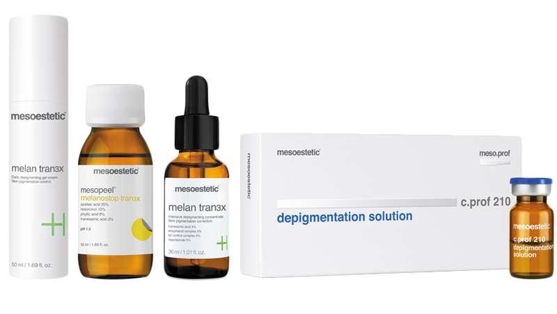 tran3x de mesoestetic, programa despigmentante multidimensional, inteligente, flexible e integral