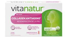 Un complemento alimenticio a base de colágeno hidrolizado peptan®, ácido  hialurónico, semillas de uva, vitaminas C,  selenio y  zinc