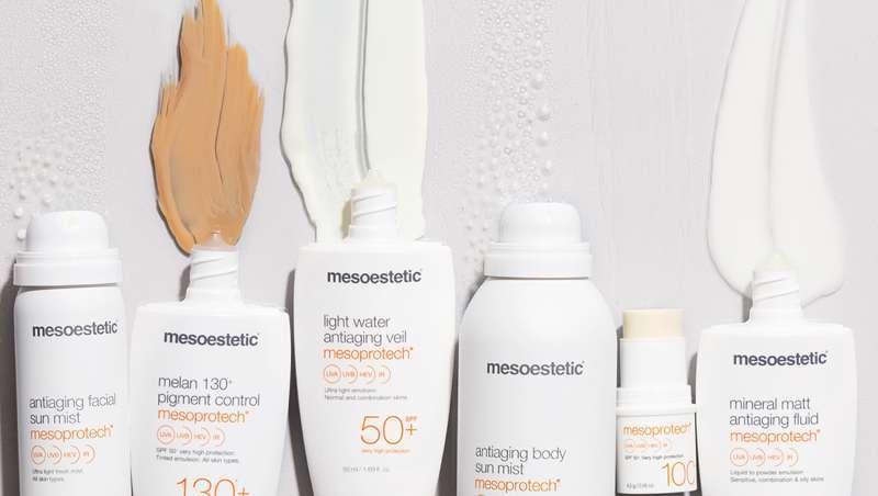 Solares mesoestetic para cada tipo de pele com ativos anti-idade e alta fotoproteção