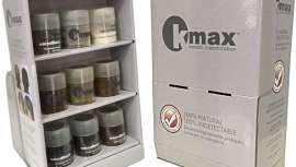 Esta herramienta permite ordenar y visualizar todos los colores disponibles de las fibras K-Max. Los botes se presentan de forma atractiva para clientes y profesionales
