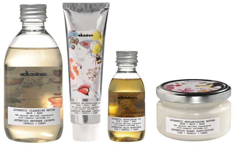 Davines Authentic Formulas es una línea de productos multifuncionales ricos en ingredientes de origen natural para rostro, cabello y cuerpo